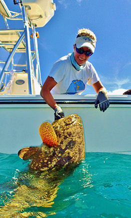 Capt. Kelly with Goliath grouper.