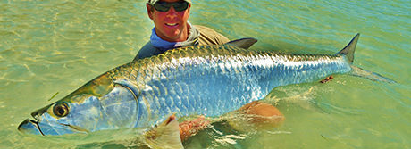 Capt. jesse holding an enormous tarpon caught in Boca Grande.